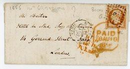 PARIS BUREAU J  LAC 1856 N°16 LOSANGE C JOLIE LETTRE POUR GRANDE BRETAGNE - 1849-1876: Classic Period