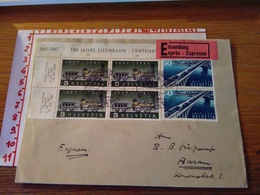 144288 SVIZZERA Storia Postale Francobolli Treno Ferrovia Espresso Expres - Storia Postale