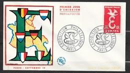 FDC Lettre Premier Jour Cachet Paris Le 12/9/1958 N°1173 Et 1174 Europa 1958    TB ... Soldé à Moins De 20 % ! ! - 1958