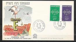FDC Lettre Premier Jour Cachet Strasbourg Le 19/9/1959 N°1218 Et 1219 Europa 1959    TB . .. Soldé à Moins De 20 % ! ! - 1958