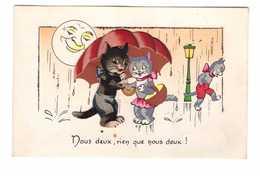 Chat Humanisé En Partie En Relief Nous Deux Rien Que Nous Deux Pluie Parapluie Couple Cpa Fantaisie - Chats