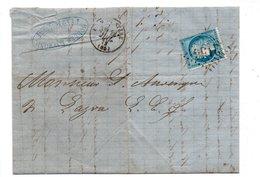 LETTRE . CÉRÈS 25c BLEU . 28 JUILLET 1872 . BORDES RAYMOND LAMAGISTÈRE - Réf. N°721T - - 1849-1876: Période Classique