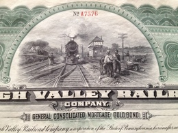 """Action USA - Train - 1000$ """"Lehigh Valley Railroad Compagny"""" State Of Pennsylvania - 21/05/45 - Chemin De Fer & Tramway"""