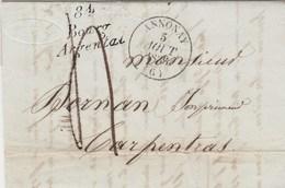Lettre Marque Postale Cursive 84 BOURG ARGENTAL Loire Cachet ANNONAY Ardèche 1836 Taxe Manuscrite à Carpentras  Vaucluse - Marcophilie (Lettres)