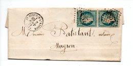 LETTRE . CÉRÈS 20c BLEU . DE SAINT-SEVER À MUGRON . 7 AOÛT 1871 - Réf. N°723T - - 1849-1876: Période Classique