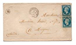 LETTRE . NAPOLÉON 20c BLEU . DE GRENADE-SUR-ADOUR À MUGRON . 27 JANVIER 1866 - Réf. N°726T - - 1849-1876: Période Classique