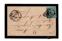 LETTRE . CÉRÈS 25c BLEU . DE MONT-DE-MARSAN À MUGRON - Réf. N°727T - - 1849-1876: Période Classique