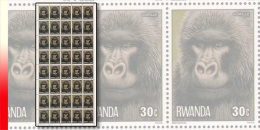 Rwanda 0860**  30c  Singes - Feuille / Sheet De 40 MNH - Rwanda