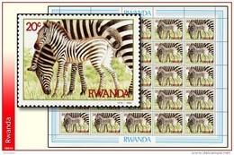 Rwanda 1218** 20c Zébre Femelle Et Petit  Sheet / Feuille De 25 -MNH- - Rwanda