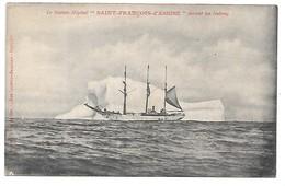 """Cpa...le Navire-Hopital """"Saint-Francois-d'Assise"""" Devant Un Iceberg...cliché Des Oeuvres De Mer.... - Fishing Boats"""
