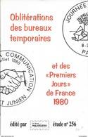 CATALOGUE OBLITERATIONS DES BUREAUX TEMPORAIRES ET IER JOURS FRANCE 1980 - MONDE DES PHILATELISTES N° 256 - Postmark Collection (Covers)