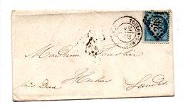 LETTRE . CÉRÈS 25c BLEU . DE TOULON À HABAS - Réf. N°731T - - 1849-1876: Période Classique