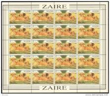 Zaire 1157** 1Z Lions - Feuille / Bogen / Sheet De 20 - Virunga - Lions - Zaïre