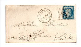 LETTRE . CÉRÈS 20c BLEU . DE TOULON À HABAS - Réf. N°732T - - Postmark Collection (Covers)