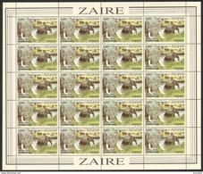 Zaire 1159** 3,5 Z Feuille / Bogen / Sheet De 20 - Virunga - Eléphants - Cote 50 Euro - Zaïre