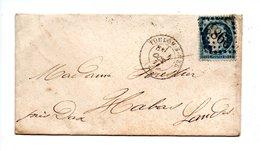 LETTRE . CÉRÈS 25c BLEU . DE TOULON-SUR-MER À HABAS - Réf. N°733T - - 1849-1876: Période Classique