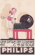 CARTE PUBLICITAIRE PHILIPS - YVETOT - MAISON DELAMARE - T.S.F PHILIPS RADIO - 76 - Yvetot