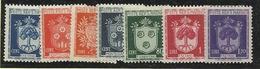 1945 San Marino Saint Marin STEMMI DEI CASTELLI  CASTLES ARMS 7 Valori : 10c, 20c, 40c, 60c, 80c, 1L, 1,20L MLH* - San Marino