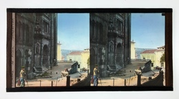 Beau Vue Stéréo En Verre Coloré De Coimbra, Portugal C. 1900 - Photos Stéréoscopiques