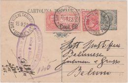 1922 CARTOLINA POSTALE Leoni C.15 Mill 20 + Leoni C.10 + ESPRESSO C.60/50 San Vito Al Tagliamento (15.9) Piega Centrale - Marcofilía
