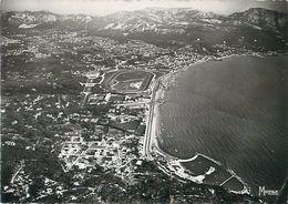 Cpsm MARSEILLE 13 La Plage, Vue D' Avion ( Hippodrome Borely ) - Quartiers Sud, Mazargues, Bonneveine, Pointe Rouge, Calanques