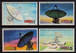 Zm0222 ZAMBIA 1974, SG 222-5 Mwembeshi Earth Station (telecommunications)  MNH - Zambia (1965-...)