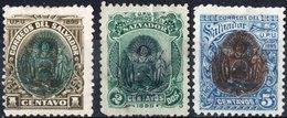 EL SALVADOR, STEMMI, COAT OF ARMS, UPU, EZETA, 1895, FRANCOBOLLI NUOVI (MLH*),  YT 91,92,94   Scott 105,106,108 - El Salvador