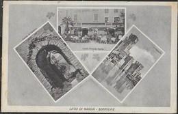 SIRMIONE - LAGO DI GARDA - TRE VEDUTE D'EPOCA - EDIZ. DE LUCIA BRESCIA - ANNI '40 - VIAGGIATA 1949 FRANCOBOLLO ASPORTATO - Autres Villes