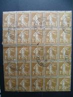 SEMEUSE 1 CTS BISTRE  BLOC DE 25   OBLITERE - 1906-38 Semeuse Camée
