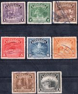 EL SALVADOR, VEDUTE, ATTIVITA, 1938-1939, FRANCOBOLLI USATI,  Michel 560-566, 568    Scott 574-580,582 - El Salvador