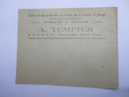 Ancienne Enveloppe A. TEMPLIER Gacé ( 61 Orne ) Cidre Pommes Poirés De La Vallée D' Auge Normandie - Agriculture