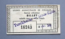 """Billet Papier Tramway  COLMAR """"Colmar-Trois épis"""" Coll Schnabel - Europe"""