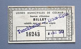 "Billet Papier Tramway  COLMAR ""Colmar-Trois épis"" Coll Schnabel - Tramways"