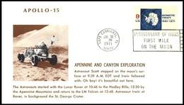 USA: 'Apollo-15 In Space - Lunar Rover Excursion, 1971', Cape Canaveral - Briefe U. Dokumente