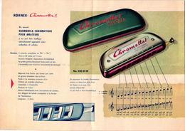 1 Brochure Mond Harmonika  Harmonica Hohner Chromettal Made In Germany - Publicités