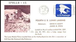 USA: 'Apollo-15 In Space - Mondlandung - Lunar Landing, 1971', Cape Canaveral - Briefe U. Dokumente