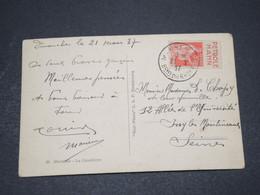 FRANCE - Type Paix Avec Bande Pub Sur Carte Postale De Marseille En 1937 - L 16049 - Marcophilie (Lettres)