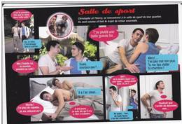 CPM GAY HOMME A MOITIE NU HOMOSEXUALITE HOMO ROMAN FEUILLETON SALLE DE SPORT - Salud