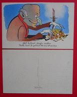 Avarice Œil Brillant Avec Nez Et Doigts Crochus Sur Des écus Carte Postale Illustrée Non Signée - Illustrateurs & Photographes