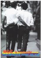 CPM GAY HOMME HOMOSEXUALITE COUPLE MUTUELLE MGS PARTENAIRE POUR LA VIE PUB - Salud
