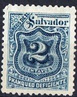 EL SALVADOR, NUMERALS, SEGNATASSE, 1897, FRANCOBOLLI NUOVI (MLH*),  Michel P18    Scott J26 - El Salvador