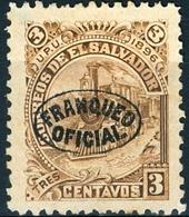 EL SALVADOR, LOCOMOTIVE, UPU, 1896, FRANCOBOLLI NUOVI (MLH*),  Michel D27X    Scott O27 - El Salvador