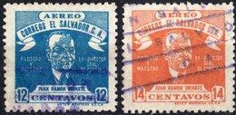 EL SALVADOR, POSTA AEREA, AIRMAIL, COMMEMORATIVI, RAMON URIARTE, 1946, FRANCOBOLLI USATI,  Scott C97,C98 - El Salvador