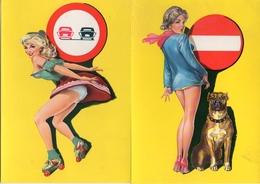 Pin-up Code De La Route, édition Walt Disney Production1962 X 2 (chien Boxer Sens Interdit, Patin à Roulettes - Illustrateurs & Photographes