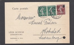 LEON SCHWAB,STRASBOURG.CARTE POSTALE POUR LE LUXEMBOURG. - Lettres & Documents