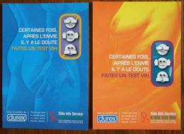 Durex Condom Against Aids Lot De 2 Cartes Postales Differentes - Salud