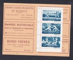 Erinnophilie Vignette Tournoi International D' épée De Biarritz 1950 Carnet Avec Trois Vignettes - Commemorative Labels