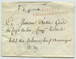 Cursive Grand Aumônier De France / Enveloppe Cachetée 1814 Pour Garde Du Corps Du Roi . - 1801-1848: Precursors XIX