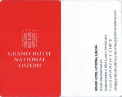 Hotel Room Key Card, Hotelkarte, Clef De Hotel, Schlússelkarte,  Grand Hotel National Luzern-1847 - Hotelkarten