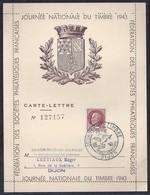 Carte Lettre Locale Journee Du Timbre 1943  Petain Dijon - France